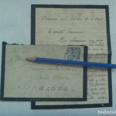 Sellos: CARTA Y SOBRE DE LUTO, CIRCULADA DE MAIRENA DEL ALCOR ( SEVILLA ) A GRANADA, 1946. SELLO DE FRANCO. Lote 176230462