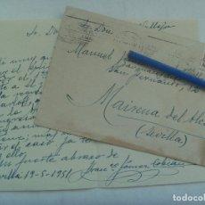 Sellos: CARTA CIRCULADA DESDE SEVILLA A MAIRENA DEL ALCOR, 1951. SELLO DE FRANCO. Lote 176278622