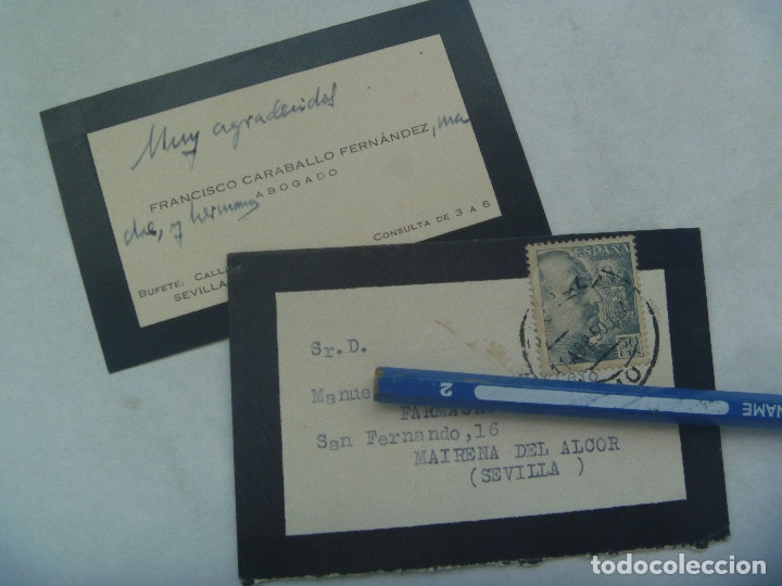 PEQUEÑO SOBRE Y TARJETA DE LUTO, CIRCULADO MAIRENA DEL ALCOR ( SEVILLA ), 1950. SELLO DE FRANCO (Sellos - Historia Postal - Sello Español - Sobres Circulados)