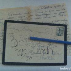 Sellos: CARTA Y SOBRE DE LUTO, CIRCULADA DE MAIRENA DEL ALCOR A MADRID, 1949. SELLO FRANCO. Lote 176311793