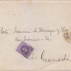 Sellos: ALFONSO XIII CADETE EN CARTA CIRCULADA 1908 DE ALMERIA A GRANADA. MATASELLOS DE LLEGADA. MPM.. Lote 176373832