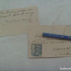 Sellos: PEQUEÑO SOBRE Y TARJETA, CIRCULADO DE TOLOX ( MALAGA ) A MAIRENA DEL ALCOR, 1945. SELLO DE FRANCO. Lote 176437768