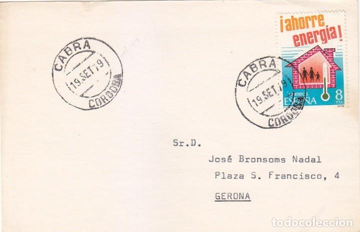 CABRA (CORDOBA) MATASELLOS FECHADOR 1979 EN TARJETA CIRCULADA A GERONA. MPM. (Sellos - Historia Postal - Sello Español - Sobres Circulados)