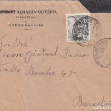 Sellos: CARTA COMERCIAL CIRCULADA 1943 DE SANTIAGO DE COMPOSTELA (LA CORUÑA) A BARCELONA. LLEGADA. MPM.. Lote 176493423