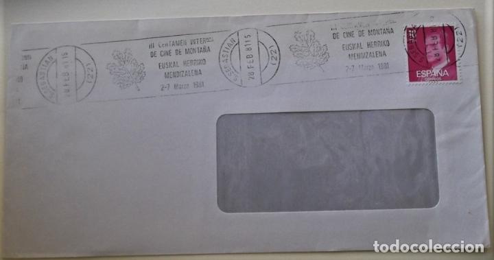 ESPAÑA. MATASELLO: III CERTAMEN INTERNAL. DE CINE DE MONTAÑA. EUSKAL HERRIKO MENDIZALENA. 2-7 MARZO (Sellos - Historia Postal - Sello Español - Sobres Circulados)