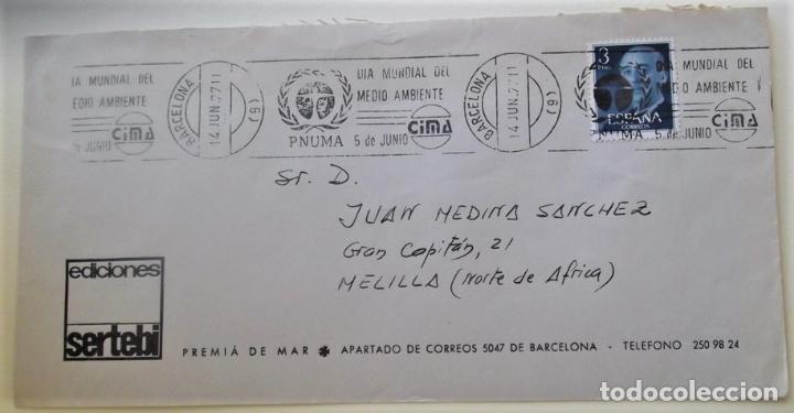 ESPAÑA. MATASELLO: DÍA MUNDIAL DEL MEDIO AMBIENTE. CIMA. PNUMA 5 DE JUNIO. 14.JUN.77 BARCELONA (Sellos - Historia Postal - Sello Español - Sobres Circulados)
