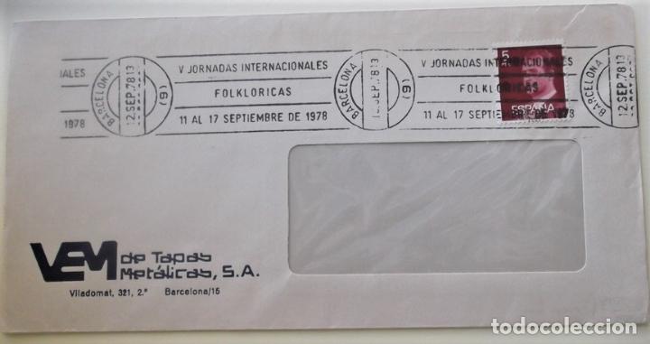 ESPAÑA. MATASELLO: V JORNADAS INTERNACIONALES FOLKLÓRICAS 11 AL 17 SEPTIEMBRE DE 1978. 12.SEP.78 BAR (Sellos - Historia Postal - Sello Español - Sobres Circulados)