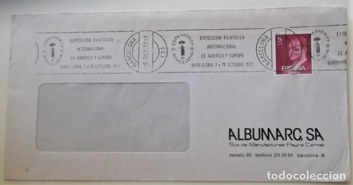 ESPAÑA. MATASELLO: EXPOSICIÓN FILATELICA INTERNACIONAL DE AMÉRICA Y EUROPA. BARCELONA 7 A 13 OCTUBRE (Sellos - Historia Postal - Sello Español - Sobres Circulados)