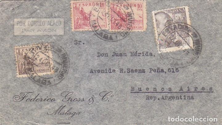 ESTACION DE INVIERNO MALAGA MATASELLOS NUM 86 DE GOMIS EN CARTA CIRCULADA 1948 A ARGENTINA. MPM. (Sellos - Historia Postal - Sello Español - Sobres Circulados)
