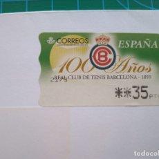 Sellos: ESPAÑA 100 AÑOS REAL CLUB DE TENIS BARCELONA - 1999 - 35 PESETAS. Lote 177658089