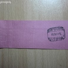 Sellos: ETIQUETA SACA / MATASELLOS Y LINEAL 1985 - VITORIA - CERTIFICADO. Lote 179556163
