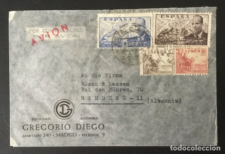 """1949-ESPAÑA SOBRE CORREO AÉREO MADRID-ALEMANIA """"JUAN DE LA CIERVA Y CID"""" (Sellos - Historia Postal - Sello Español - Sobres Circulados)"""
