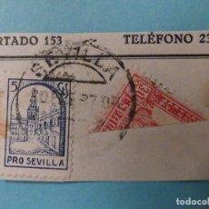 Sellos: FRAGMENTO SELLO BISECTADO 30 CTS ISABEL (ED. 823) + SELLO LOCAL CON FECHADOR SEVILLA 30 SEP 1937. Lote 182122007
