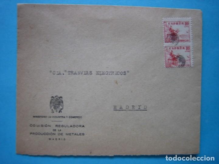 MADRID CORREO INTERIOR - MINISTERIO INDUSTRIA Y COMERCIO - PAREJA 10 CTS. CID CON MATASELLO MUDO (Sellos - Historia Postal - Sello Español - Sobres Circulados)
