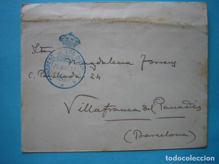 CARTA FRANQUICIA CONGRESO DE LOS DIPUTADOS 25 MAY 1917 CON MATASELLO LLEGADA VILLAFRANCA DEL PANADES (Sellos - Historia Postal - Sello Español - Sobres Circulados)
