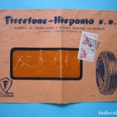 Sellos: SOBRE PUBLICITARIO FIRESTONE-HISPANIA MATASELLO ROMBO PUNTOS CON ESTRELLA DORSO CENSURA MADRID 1939. Lote 182220061