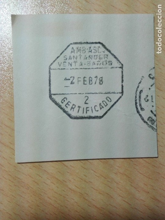 MATASELLOS AMBULANTE 1978 - SANTANDER VENTA DE BAÑOS CERTIFICADO (SIN SELLO) - TREN FERROCARRIL (Sellos - Historia Postal - Sello Español - Sobres Circulados)