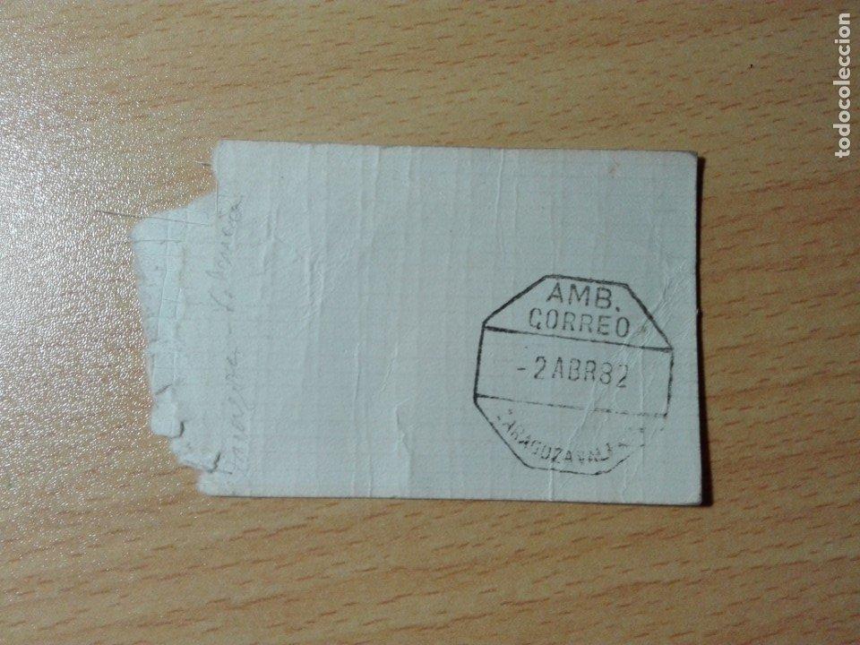 ETIQUETA SACA / MATASELLOS AMBULANTE CORREO ZARAGOZA VALENCIA - 1982 TREN FERROCARRIL (Sellos - Historia Postal - Sello Español - Sobres Circulados)