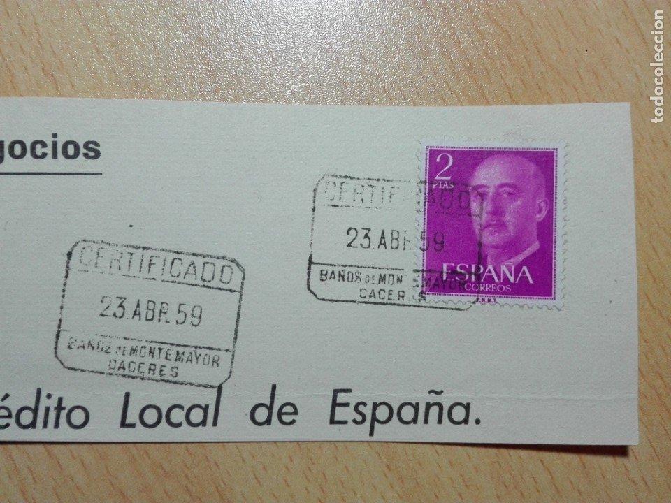 MATASELLOS 1959 - BAÑOS DE MONTEMAYOR / CACERES - CERTIFICADO (Sellos - Historia Postal - Sello Español - Sobres Circulados)
