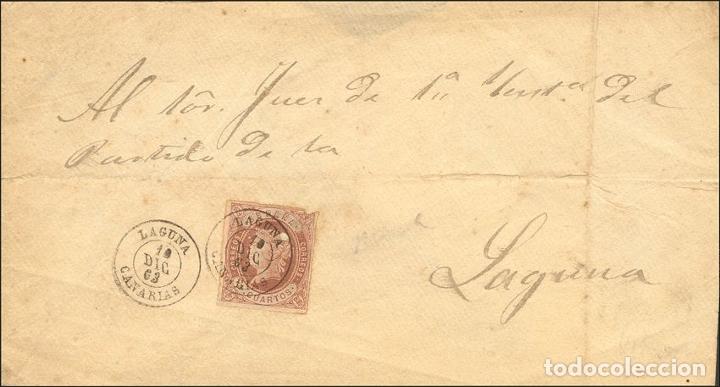 ESPAÑA. CANARIAS. HISTORIA POSTAL. SOBRE 58. 1863. 4 CUARTOS CASTAÑO (SELLO CON DEFECTO, QUE NO DES (Sellos - Historia Postal - Sello Español - Sobres Circulados)