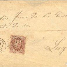 Sellos: ESPAÑA. CANARIAS. HISTORIA POSTAL. SOBRE 58. 1863. 4 CUARTOS CASTAÑO (SELLO CON DEFECTO, QUE NO DES. Lote 183101475