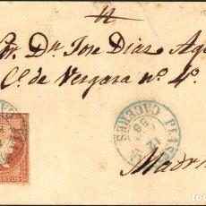 Sellos: ESPAÑA. EXTREMADURA. HISTORIA POSTAL. SOBRE 44. 1858. 4 CUARTOS ROJO. PLASENCIA A MADRID. MATASELLO. Lote 183101480