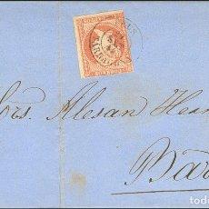 Sellos: ESPAÑA. CATALUÑA. HISTORIA POSTAL. SOBRE 48. 1856. 4 CUARTOS ROJO. REUS A BARCELONA. MATASELLO REUS. Lote 183101482