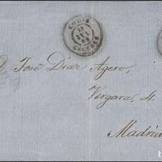 Sellos: ESPAÑA. EXTREMADURA. HISTORIA POSTAL. SOBRE 58. 1862. 4 CUARTOS CASTAÑO. CORIA A MADRID. MATASELLO. Lote 183101483