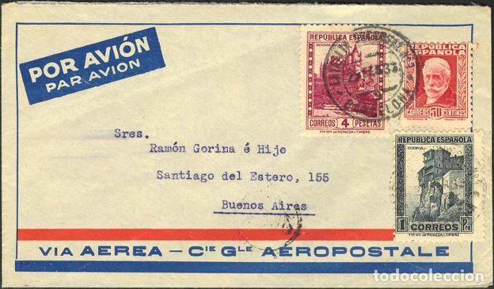 ESPAÑA. REPÚBLICA ESPAÑOLA CORREO AÉREO. SOBRE 669, 673, 674. 1933. 30 CTS, 1 PTA, 4 PTA. BARCELONA (Sellos - Historia Postal - Sello Español - Sobres Circulados)