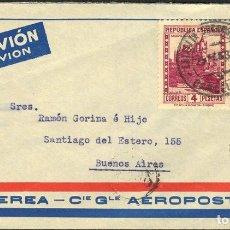 Sellos: ESPAÑA. REPÚBLICA ESPAÑOLA CORREO AÉREO. SOBRE 669, 673, 674. 1933. 30 CTS, 1 PTA, 4 PTA. BARCELONA. Lote 183101486