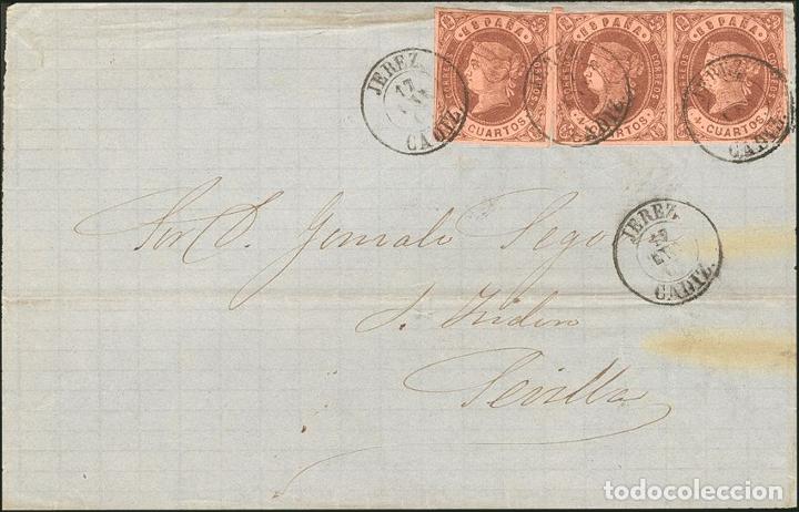 ESPAÑA. ANDALUCÍA. HISTORIA POSTAL. SOBRE 58(3). 1863. 4 CUARTOS CASTAÑO, TRES SELLOS. FRONTAL DE (Sellos - Historia Postal - Sello Español - Sobres Circulados)