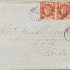 Sellos: ESPAÑA. ANDALUCÍA. HISTORIA POSTAL. SOBRE 58(3). 1863. 4 CUARTOS CASTAÑO, TRES SELLOS. FRONTAL DE. Lote 183101495