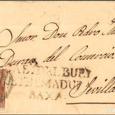 Sellos: ESPAÑA. EXTREMADURA. HISTORIA POSTAL. SOBRE 40. 1856. 4 CUARTOS ROJO. CABEZA DEL BUEY A SEVILLA. MA. Lote 183101497