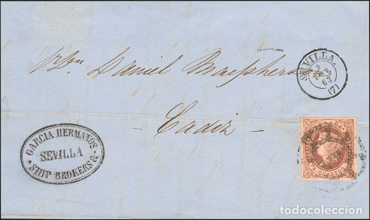 ESPAÑA. ANDALUCÍA. HISTORIA POSTAL. º58. 1863. 4 CUARTOS CASTAÑO. SEVILLA A CADIZ. MATASELLO R.CARR (Sellos - Historia Postal - Sello Español - Sobres Circulados)