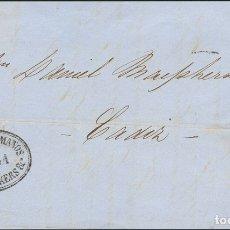 Sellos: ESPAÑA. ANDALUCÍA. HISTORIA POSTAL. º58. 1863. 4 CUARTOS CASTAÑO. SEVILLA A CADIZ. MATASELLO R.CARR. Lote 183101500