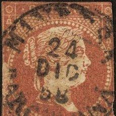 Sellos: ESPAÑA. CATALUÑA. FILATELIA. º48. 1856. 4 CUARTOS ROJO. MATASELLO MANRESA / BARCELONA (TIPO I). CON. Lote 183101958