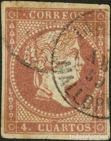 ESPAÑA. ISLAS BALEARES. FILATELIA. º48. 1856. 4 CUARTOS ROJO. MATASELLO LLUCHMAYOR / MALLORCA. POCO (Sellos - Historia Postal - Sello Español - Sobres Circulados)