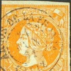 Sellos: ESPAÑA. ANDALUCÍA. FILATELIA. º52. 1860. 4 CUARTOS AMARILLO. MATASELLO ARCOS DE LA FRONTª / CADIZ.. Lote 183102985