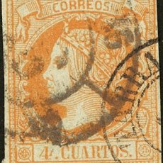Sellos: ESPAÑA. CATALUÑA. FILATELIA. º52. 1860. 4 CUARTOS AMARILLO. MATASELLO TARRAGONA / (46) Y R. CARRETA. Lote 183103237
