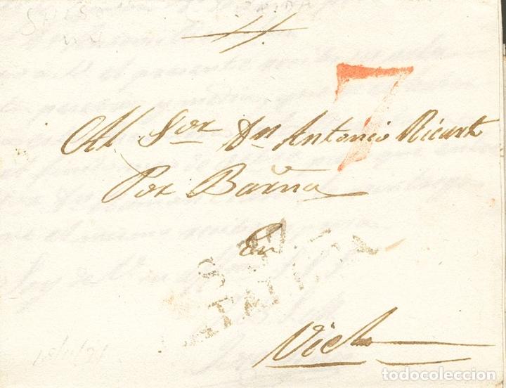 ESPAÑA. CATALUÑA. PREFILATELIA. SOBRE . 1834. SOLSONA A VIELLA. MARCA S. 37 / CATALUÑA (P.E.4) EDIC (Sellos - Historia Postal - Sello Español - Sobres Circulados)