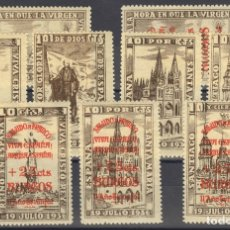 Francobolli: ESPAÑA. GUERRA CIVIL. LOCALES. MH *. 1938. DOS SERIES COMPLETAS. BURGOS. MAGNIFICAS. (FESOFI 1/5, 6. Lote 183116600