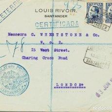 Sellos: ESPAÑA. CANTABRIA. HISTORIA POSTAL. CANTABRIA. HISTORIA POSTAL. CERTIFICADO / SANTANDER. MAGNIFICA.. Lote 183118692