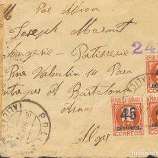 Sellos: ESPAÑA. REPÚBLICA ESPAÑOLA CORREO AÉREO. REPÚBLICA ESPAÑOLA CORREO AÉREO. DIRIGIDA A ALGERIA, AL DO. Lote 183127117