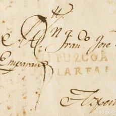 Selos: ESPAÑA. PAÍS VASCO. PREFILATELIA. SOBRE . 1818. ATAURI (ALAVA) A AZPEITIA. MARCA GUIPUZCOA / VILLAR. Lote 183132645