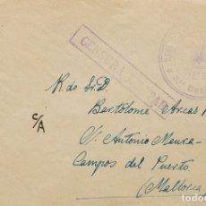 Sellos: ESPAÑA. GUERRA CIVIL. BANDO NACIONAL. SOBRE . (1938CA). DIRIGIDA A CAMPOS DEL PUERTO (MALLORCA). MA. Lote 183148811