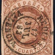 Timbres: ESPAÑA. COMUNIDAD VALENCIANA. FILATELIA. º58. 1862. 4 CUARTOS CASTAÑO. MATASELLO REQUENA / VALENCIA. Lote 183161902