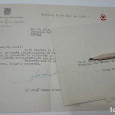 Sellos: MINISTERIO DE LA VIVIENDA - FALANGE: CARTA A CONCEJAL AYUNTAMIENTO DE SEVILLA, 1960. Lote 183865902