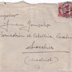 Sellos: SELLO BISECTADO REPUBLICA ESPAÑOLA CARTA 1937 VILLENA (ALICANTE)-LOECHES (MADRID). CARTA EN INTERIOR. Lote 186129545