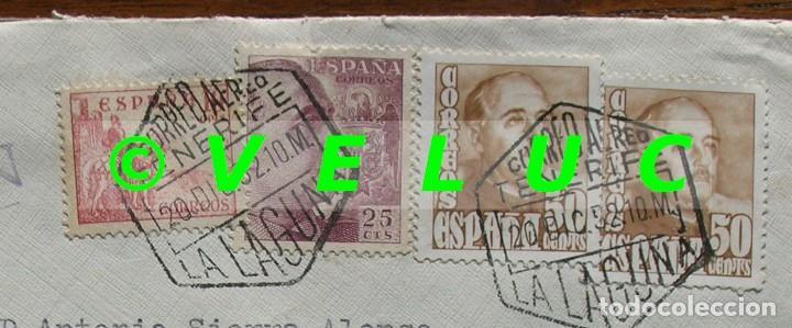 Sellos: SOBRE CIRCULADO UNIVERSIDAD DE LA LAGUNA AVILES 1952. SELLOS 1048, 1045 Y 1022 - Foto 3 - 187201658
