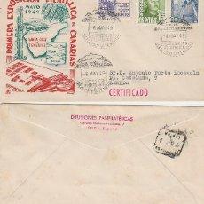 Sellos: AÑO 1949, EL TEIDE, PRIMERA EXPOSICION FILATELICA DE SANTA CRUZ DE TENERIFE, PANFILATELICA CIRCULADO. Lote 189173193